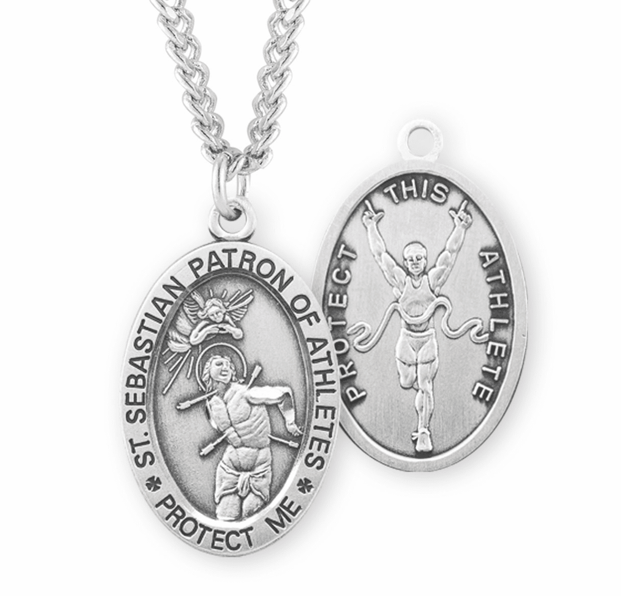 HMH Religious St Sebastian Track & Field Oval Sterling Silver Sports Necklace