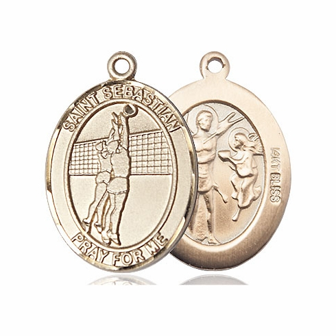 St Sebastian Volleyball 14kt Gold Sports Medal Pendant by Bliss