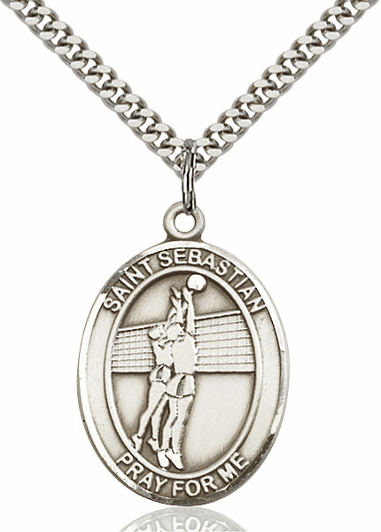 St Sebastian Volleyball Player Silver-Filled Patron Saint Medal by Bliss Mfg