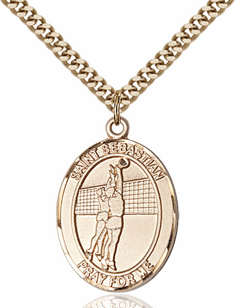 St Sebastian Volleyball Sports 14kt Gold-Filled Pendant Necklace by Bliss