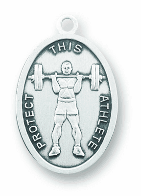 St Sebastian Weight Lifting Sterling Silver Sports Necklace