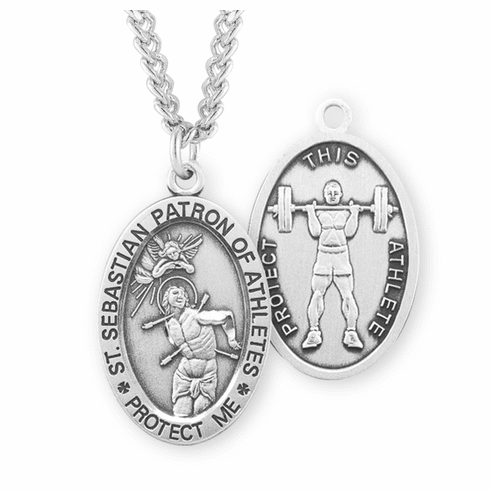 HMH Religious St Sebastian Weight Lifting Sterling Silver Sports Necklace
