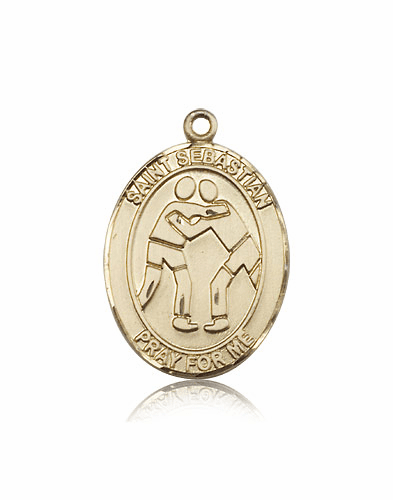 St Sebastian Wrestling 14kt Gold Sports Medal Pendant by Bliss