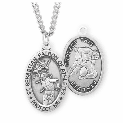 HMH Religious St Sebastian Wrestling Oval Sterling Silver Sports Necklace