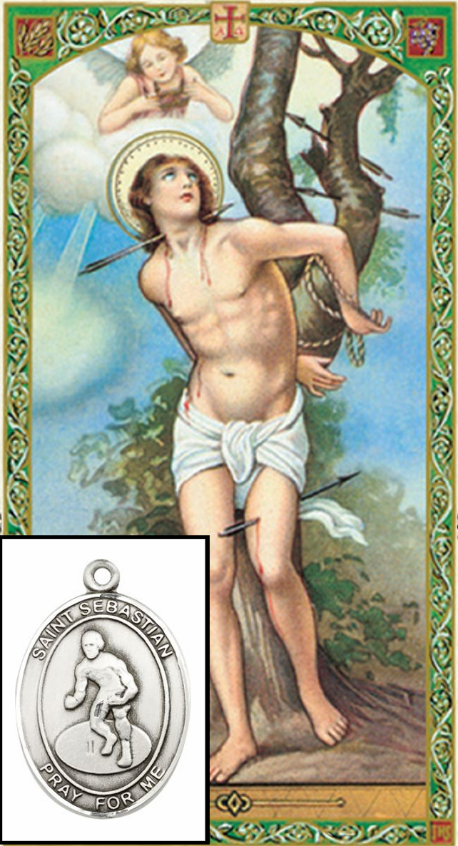 St Sebastian Wrestling Prayer Card and Pewter Pendant Necklace Gift Set