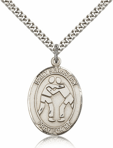St Sebastian Wrestling Silver-Filled Patron Saint Medal by Bliss