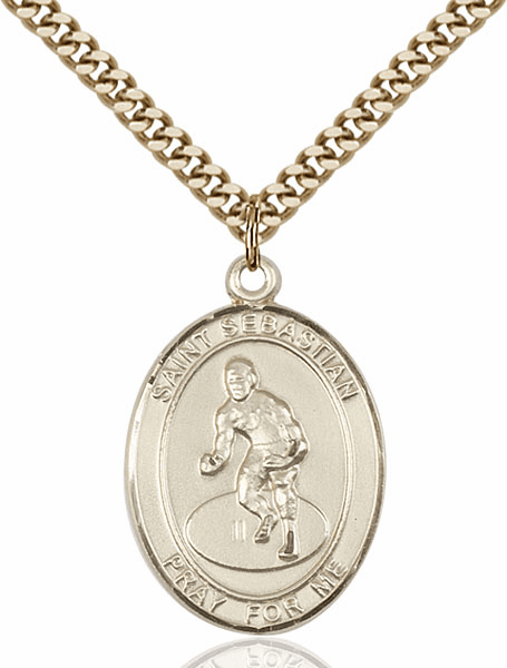 St Sebastian Wrestling Sports 14kt Gold-Filled Pendant Necklace by Bliss