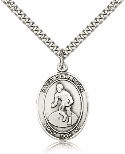 St Sebastian Wrestling Sterling Silver Necklace by Bliss