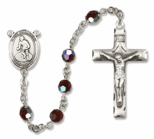 St Sebastian Wrestling Sterling Silver Sports Rosary by Bliss