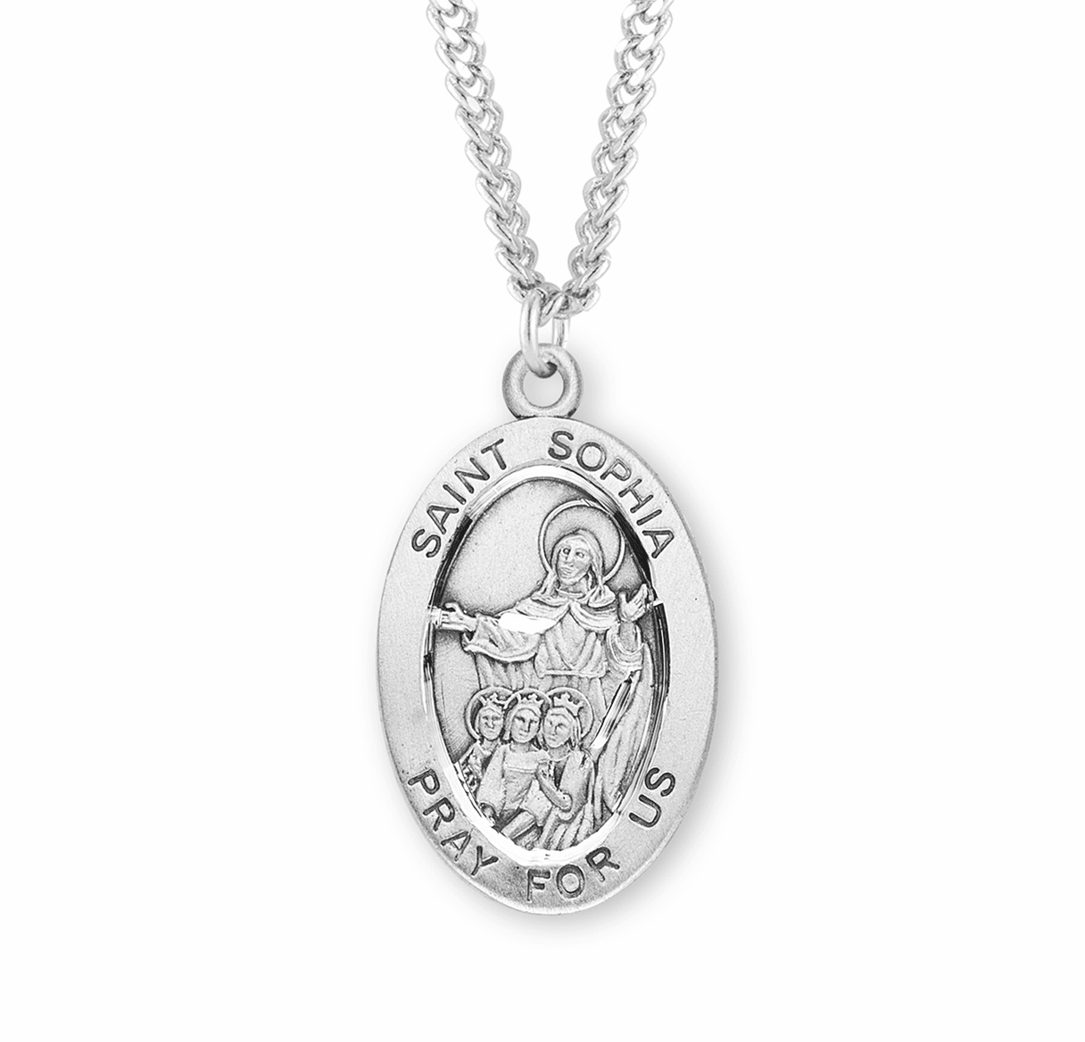 St Sophia Large Oval Sterling Silver Patron Saint Medal Necklace w/Chain by HMH Religious