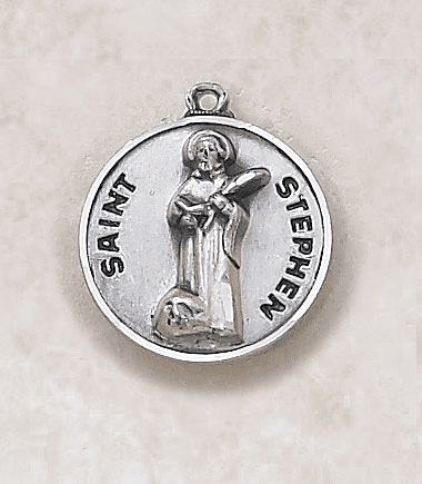 St Stephen Sterling Sterling Patron Saint Medal w/Chain by Creed Jewelry