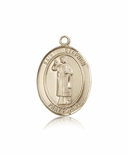 St Stephen the Martyr 14kt Gold Patron Saint Pendant Medal by Bliss