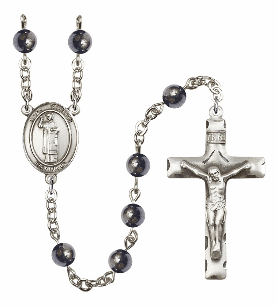 St Stephen the Martyr 6mm Hematite Gemstone Rosary by Bliss