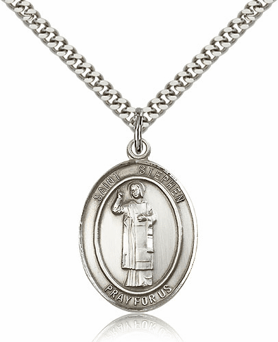 St Stephen the Martyr Silver-Filled Patron Saint Necklace by Bliss