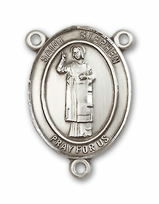St Stephen the Martyr Sterling Silver Saint Rosary Center by Bliss