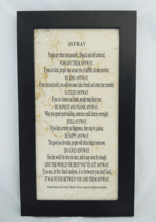 St Teresa of Calcutta Anyway Poem Plaque by Holy Land Stone