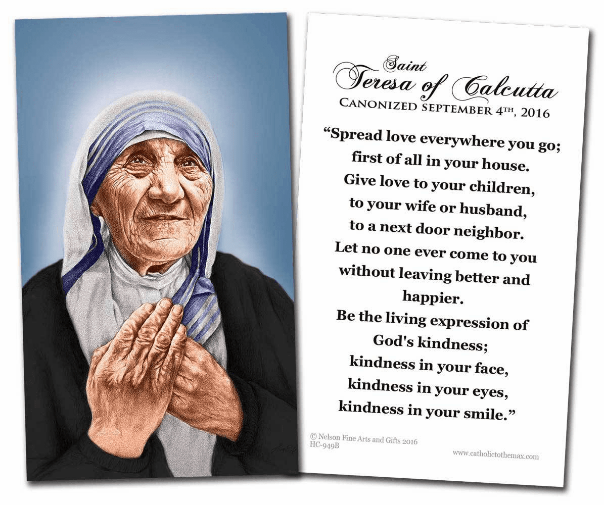 St Teresa of Calcutta Canonization Quote Holy Prayer Card by Nelson
