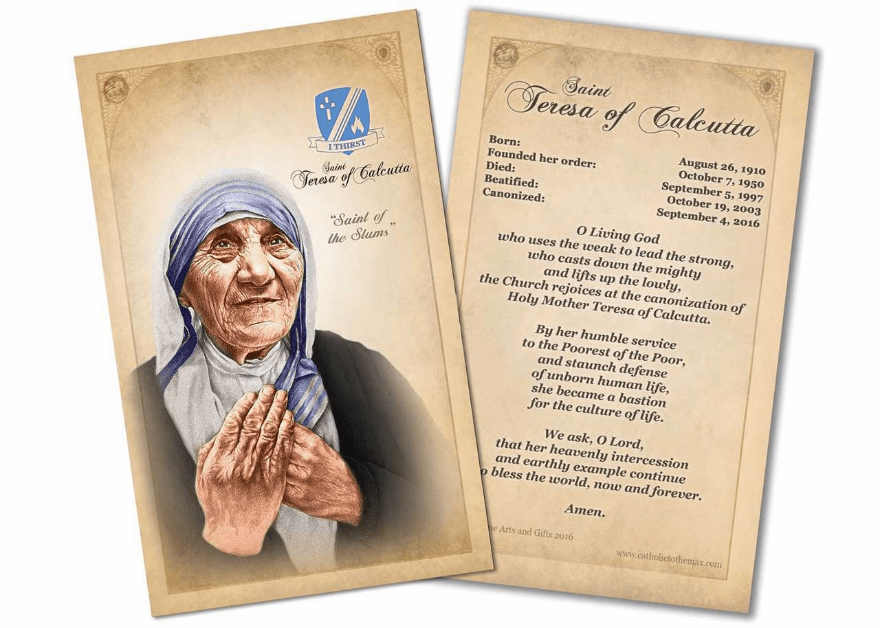 St Teresa of Calcutta Commemorative Prayer Card by Nelson