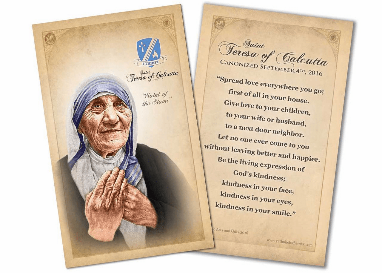 St Teresa of Calcutta Commemorative Quote Holy Prayer Card by Nelson