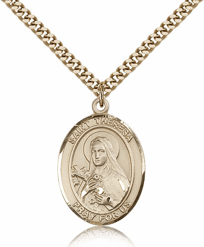 St Theresa Lisieux 14kt Gold-Filled Patron Saint Pendant Necklace by Bliss