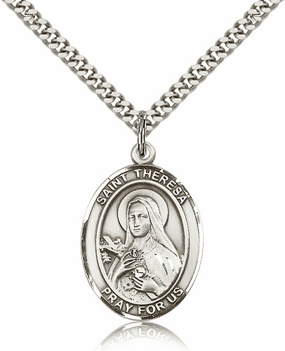 St Theresa Lisieux Pewter Patron Saint Catholic Necklace by Bliss
