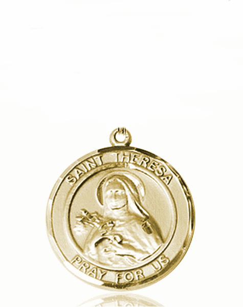 St Theresa Medium Patron Saint 14kt Gold Medal by Bliss