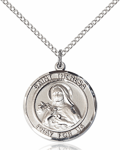St Theresa Medium Patron Saint Sterling Silver Medal by Bliss