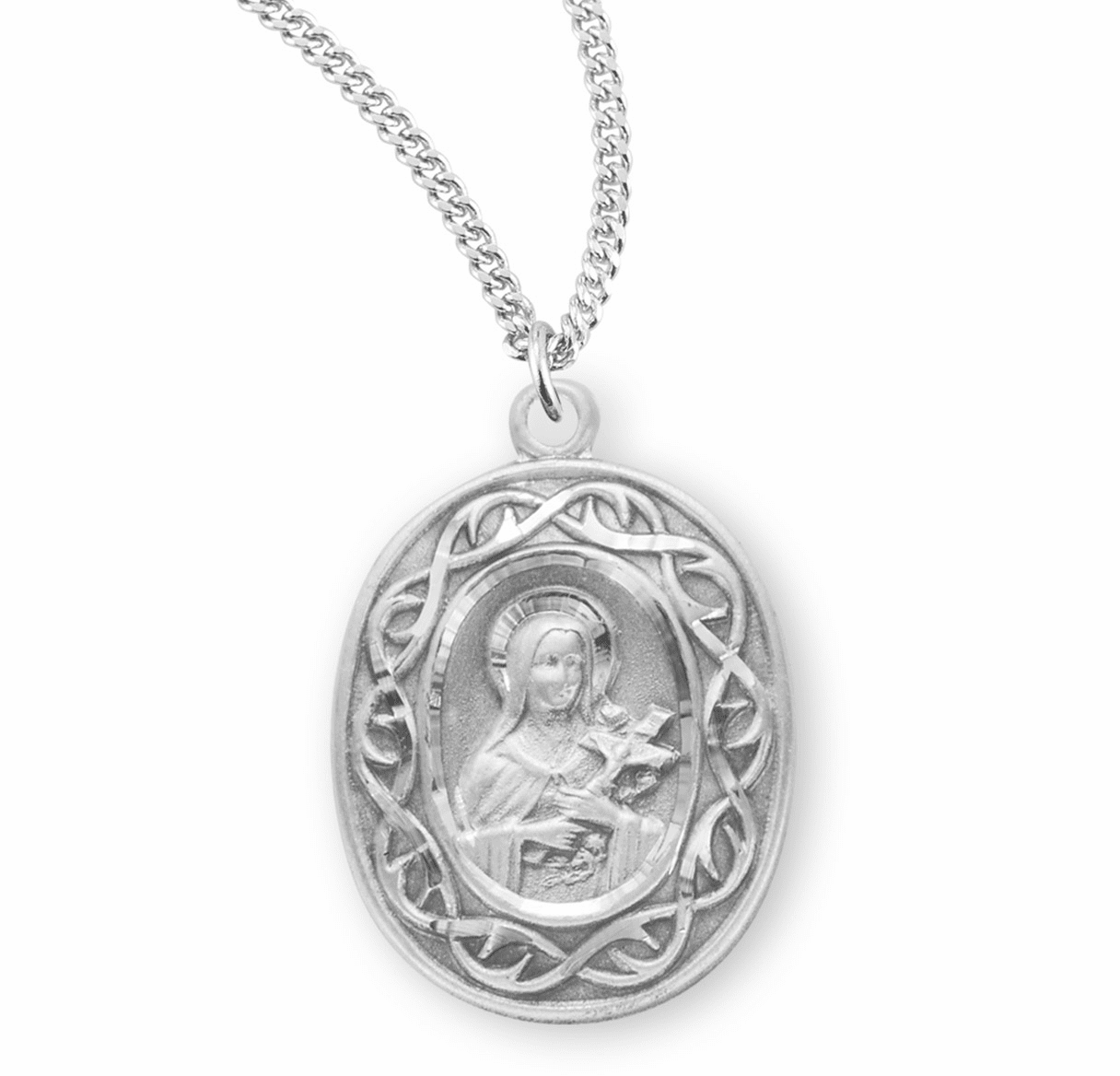 St Therese Crown of Thorns Sterling Silver Medal Necklace by HMH Religious