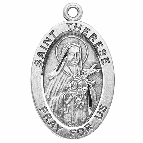 St Therese Large Oval Sterling Silver Medals by HMH Religious