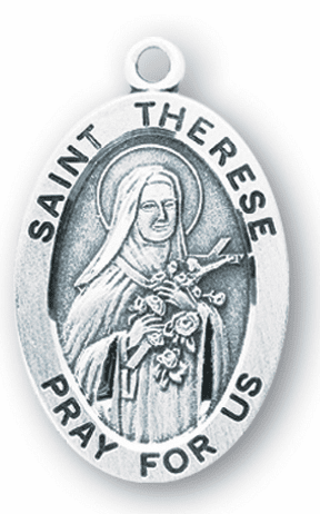 HMH Religious St Therese Large Saint Sterling Silver Medal Necklace w/Chain