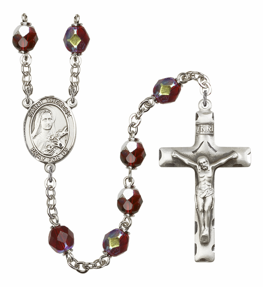 St Therese Lisieux 7mm Lock Link Aurora Borealis Garnet Rosary by Bliss Mfg