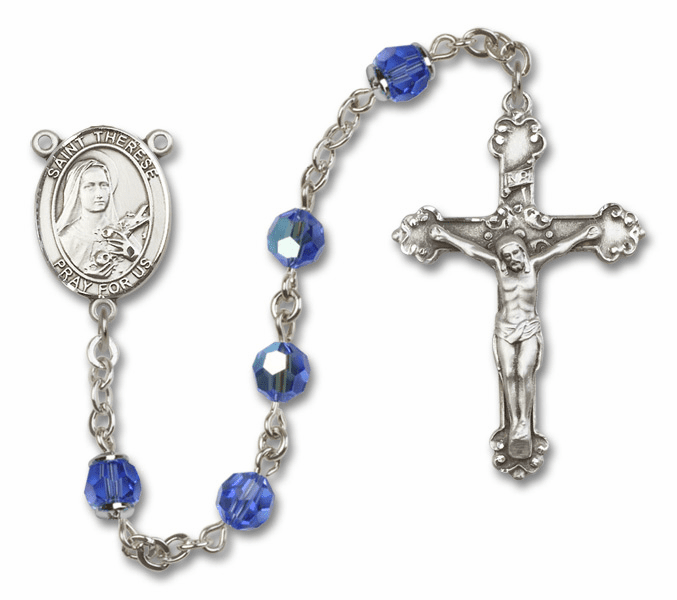 St Therese Lisieux Patron Saint Sapphire Swarovski Sterling Rosary by Bliss