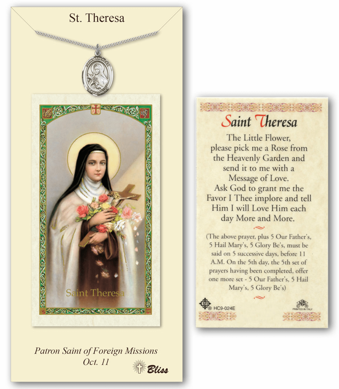 St Therese Lisieux Pendant and Holy Prayer Card Gift Set by Bliss