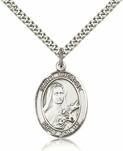 St Therese Lisieux Silver-filled Patron Saint Necklace with Chain by Bliss