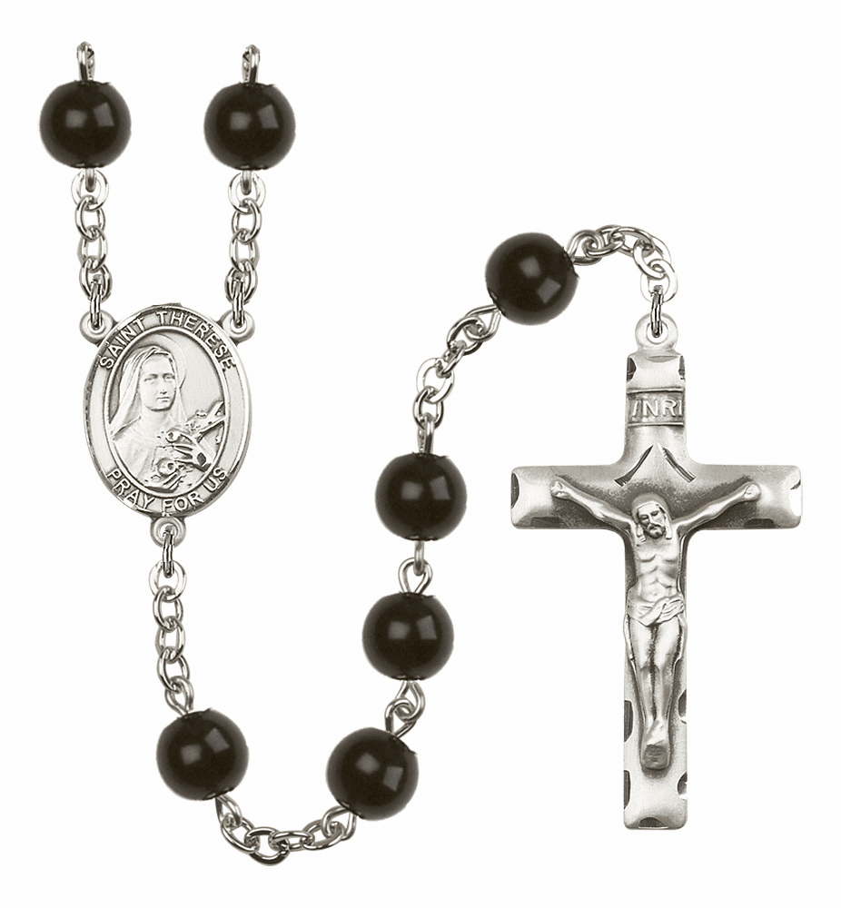 St Therese Lisieux Silver Plate 7mm Black Onyx  Prayer Rosary by Bliss
