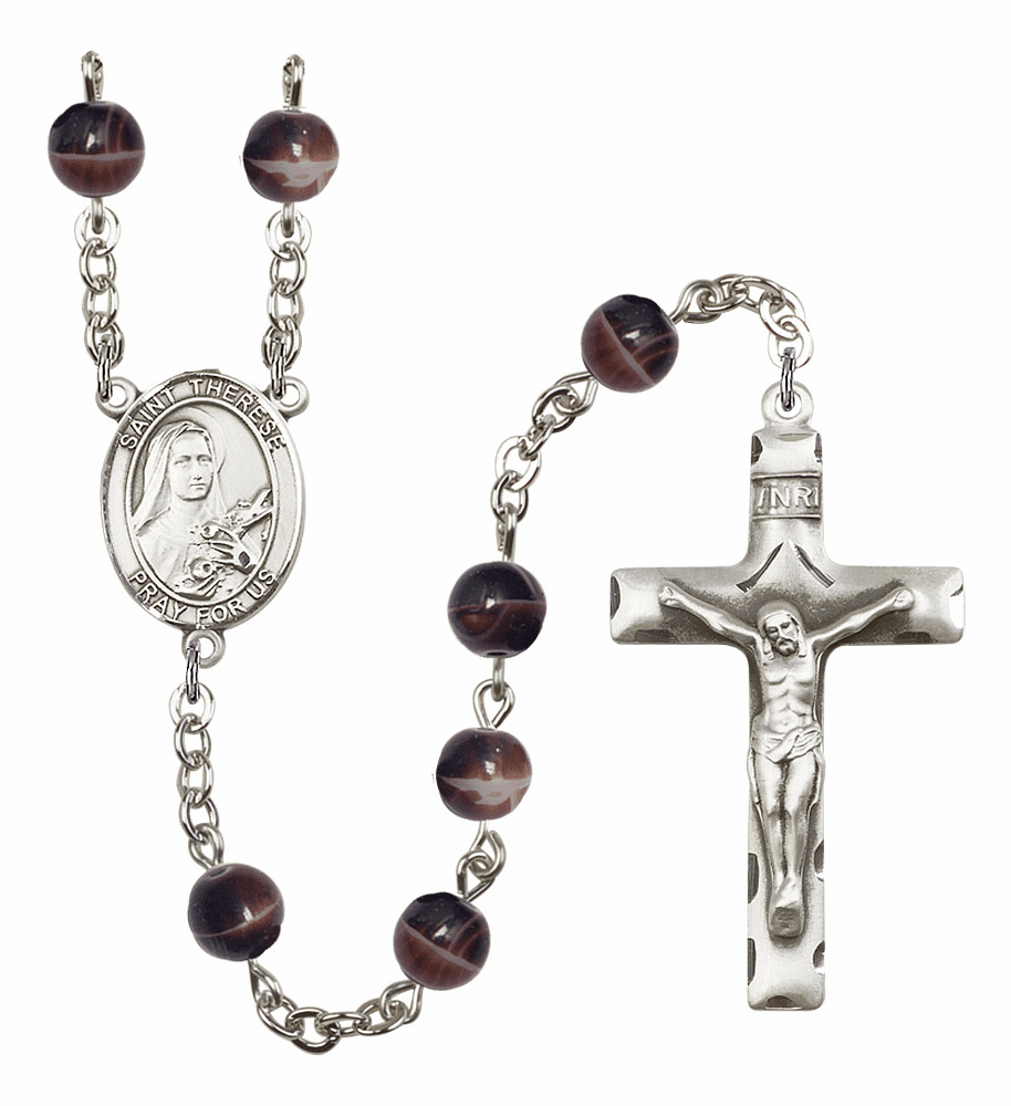 St Therese Lisieux Silver Plate 7mm Brown Gemstone Prayer Rosary by Bliss