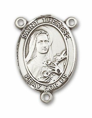 St Therese Lisieux Sterling Silver Saint Rosary Center by Bliss
