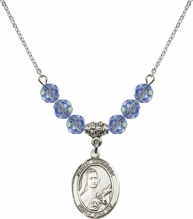 St Therese Lisieux Swarovski Crystal Beaded Patron Saint Necklace by Bliss Mfg
