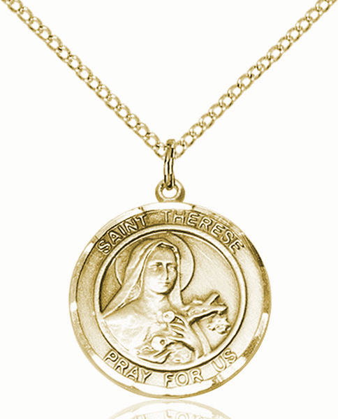 St Therese of Lisieux Medium Patron Saint 14kt Gold-filled Medal by Bliss
