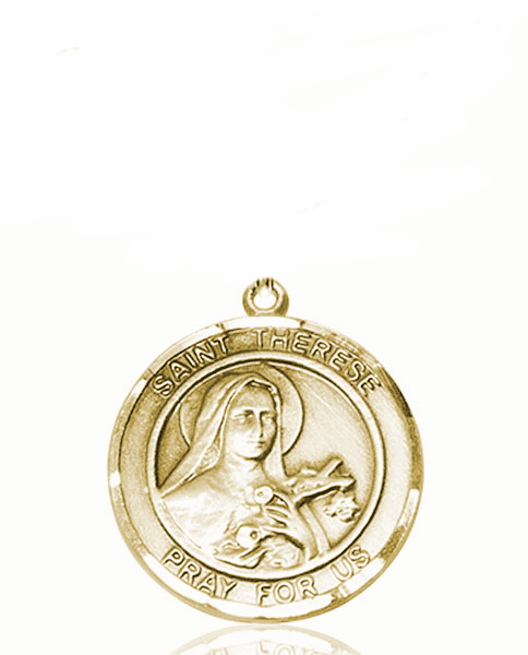 St Therese of Lisieux Medium Patron Saint 14kt Gold Medal by Bliss
