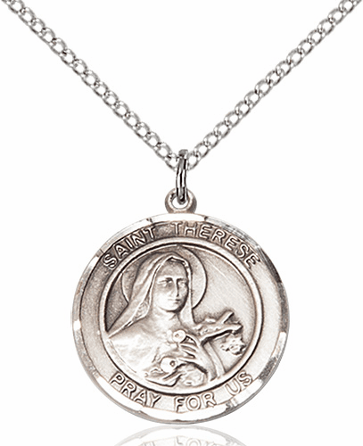 St Therese of Lisieux Medium Patron Saint Silver-filled Medal by Bliss