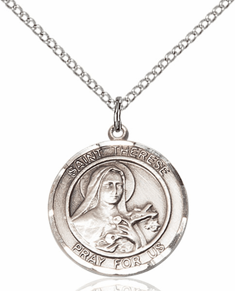 St Therese of Lisieux Medium Patron Saint Sterling Silver Medal by Bliss