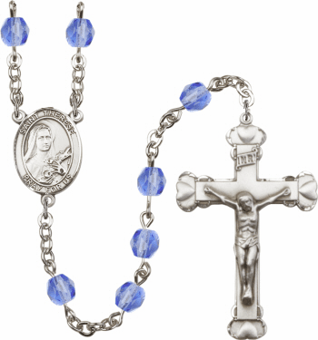St Therese of Lisieux Patron Saint Birthstone Fire Polished Crystal Prayer Rosary
