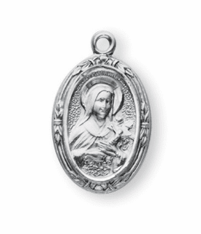 St Therese Oval Sterling Silver Medal Necklace by HMH Religious