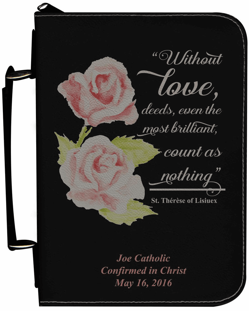 St Therese Rose Personalized Black Catholic Bible Cover Case