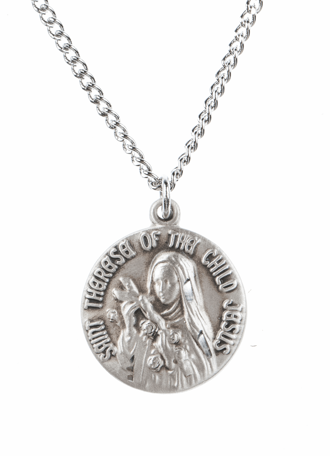 "St Therese Saint Medal Pendant w/18"" Chain by Jeweled Cross"