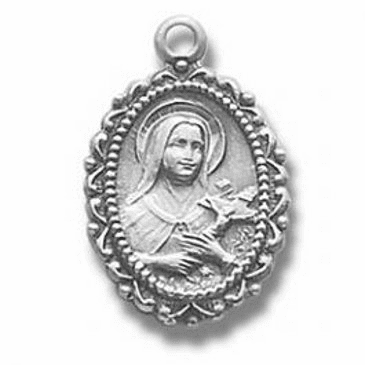 St Therese Sterling Silver Medal Necklace by HMH Religious