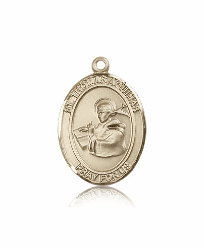 St Thomas Aquinas  14kt Gold Patron Saint Pendant Medal by Bliss