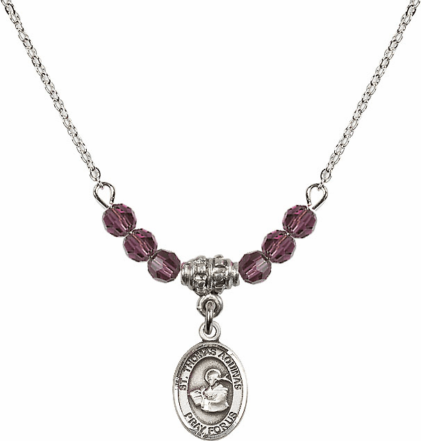 St Thomas Aquinas 4mm Swarovski Crystal February Amethyst Necklace by Bliss Mfg