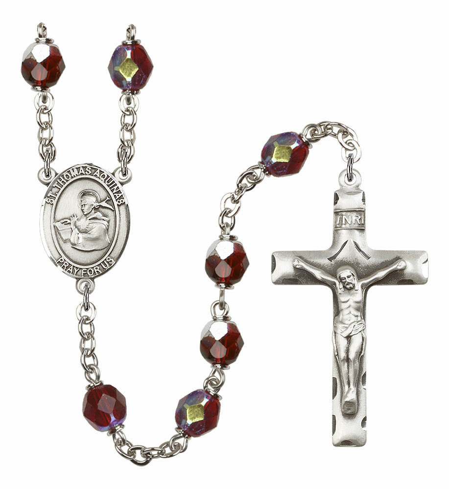 St Thomas Aquinas 7mm Lock Link AB Garnet Rosary by Bliss Mfg